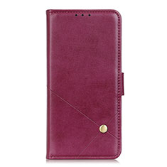 Leather Case Stands Flip Cover L08 Holder for LG K52 Red Wine