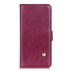 Leather Case Stands Flip Cover L08 Holder for LG K62 Red Wine