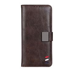 Leather Case Stands Flip Cover L08 Holder for Motorola Moto G9 Power Brown
