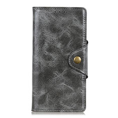 Leather Case Stands Flip Cover L08 Holder for Motorola Moto One Fusion Plus Gray