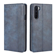 Leather Case Stands Flip Cover L08 Holder for OnePlus Nord Blue
