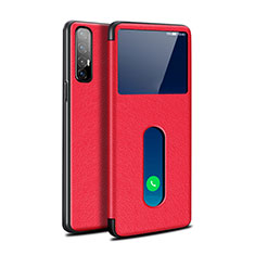 Leather Case Stands Flip Cover L08 Holder for Oppo Find X2 Neo Red