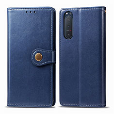 Leather Case Stands Flip Cover L08 Holder for Sony Xperia 5 II Blue