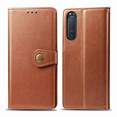 Leather Case Stands Flip Cover L08 Holder for Sony Xperia 5 II Brown