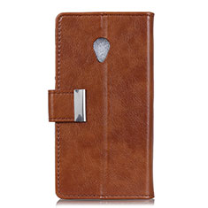 Leather Case Stands Flip Cover L09 Holder for Alcatel 1X (2019) Brown