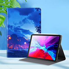 Leather Case Stands Flip Cover L09 Holder for Apple iPad Pro 12.9 (2020) Blue