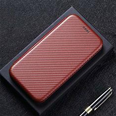 Leather Case Stands Flip Cover L09 Holder for LG K52 Brown