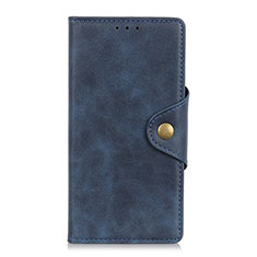 Leather Case Stands Flip Cover L09 Holder for Motorola Moto One Fusion Plus Blue