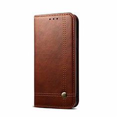 Leather Case Stands Flip Cover L09 Holder for OnePlus Nord Brown