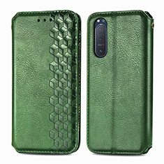 Leather Case Stands Flip Cover L09 Holder for Sony Xperia 5 II Green