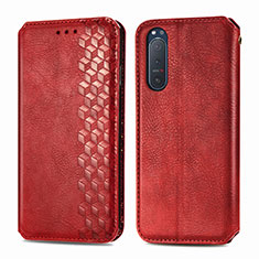Leather Case Stands Flip Cover L09 Holder for Sony Xperia 5 II Red