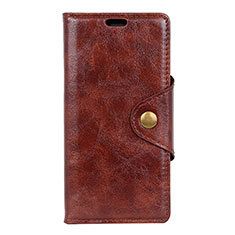 Leather Case Stands Flip Cover L10 Holder for Alcatel 1X (2019) Brown