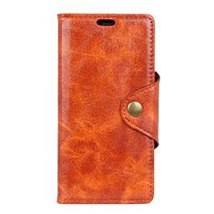 Leather Case Stands Flip Cover L10 Holder for Alcatel 1X (2019) Orange