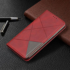 Leather Case Stands Flip Cover L10 Holder for Huawei Y6p Red