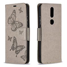 Leather Case Stands Flip Cover L10 Holder for Nokia 2.4 Gray