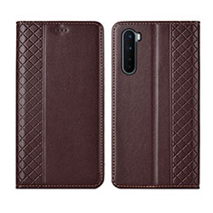 Leather Case Stands Flip Cover L10 Holder for OnePlus Nord Brown