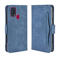 Leather Case Stands Flip Cover L10 Holder for Samsung Galaxy M21s Blue