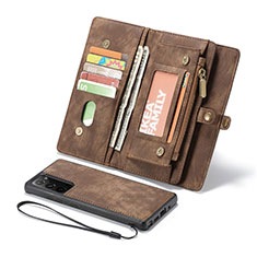 Leather Case Stands Flip Cover L10 Holder for Samsung Galaxy Note 20 5G Brown