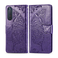 Leather Case Stands Flip Cover L10 Holder for Sony Xperia 5 II Purple