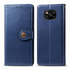 Leather Case Stands Flip Cover L10 Holder for Xiaomi Poco X3 NFC Blue