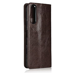 Leather Case Stands Flip Cover L11 Holder for Sony Xperia 5 II Brown