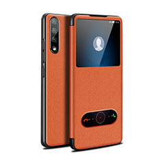 Leather Case Stands Flip Cover L12 Holder for Huawei Y8p Orange