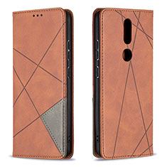 Leather Case Stands Flip Cover L12 Holder for Nokia 2.4 Brown