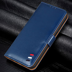 Leather Case Stands Flip Cover L12 Holder for Samsung Galaxy M21s Blue