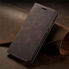 Leather Case Stands Flip Cover L15 Holder for Samsung Galaxy A71 5G Brown