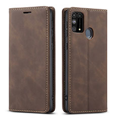 Leather Case Stands Flip Cover L15 Holder for Samsung Galaxy M21s Brown