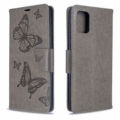 Leather Case Stands Flip Cover L17 Holder for Samsung Galaxy A71 5G Gray
