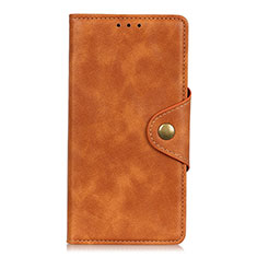 Leather Case Stands Flip Cover L18 Holder for Oppo Reno5 Pro 5G Brown