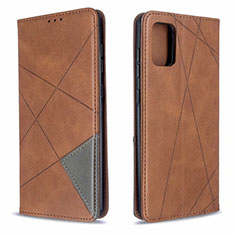 Leather Case Stands Flip Cover L18 Holder for Samsung Galaxy A71 5G Brown