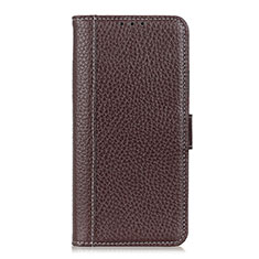 Leather Case Stands Flip Cover L20 Holder for Samsung Galaxy A71 5G Brown
