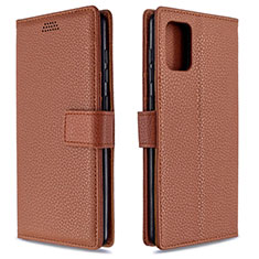 Leather Case Stands Flip Cover L22 Holder for Samsung Galaxy A71 5G Brown