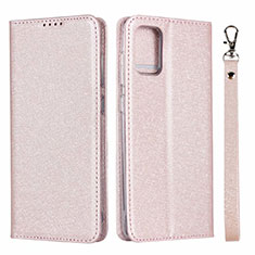 Leather Case Stands Flip Cover L27 Holder for Samsung Galaxy A71 5G Rose Gold