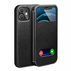 Leather Case Stands Flip Cover N01 Holder for Apple iPhone 12 Mini Black