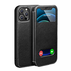 Leather Case Stands Flip Cover N01 Holder for Apple iPhone 12 Pro Max Black