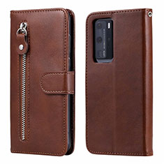 Leather Case Stands Flip Cover N01 Holder for Huawei P40 Pro Brown