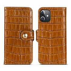 Leather Case Stands Flip Cover N02 Holder for Apple iPhone 12 Mini Brown