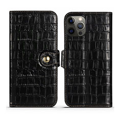 Leather Case Stands Flip Cover N02 Holder for Apple iPhone 12 Pro Black