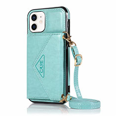Leather Case Stands Flip Cover N03 Holder for Apple iPhone 12 Mini Cyan