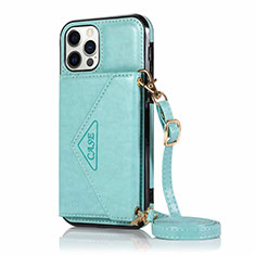 Leather Case Stands Flip Cover N03 Holder for Apple iPhone 12 Pro Max Cyan