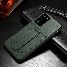 Leather Case Stands Flip Cover N08 Holder for Samsung Galaxy Note 20 5G Midnight Green