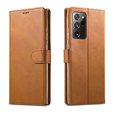 Leather Case Stands Flip Cover N08 Holder for Samsung Galaxy Note 20 Ultra 5G Light Brown