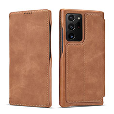 Leather Case Stands Flip Cover N09 Holder for Samsung Galaxy Note 20 Ultra 5G Light Brown