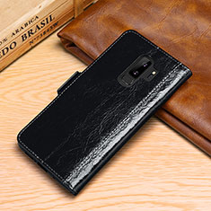 Leather Case Stands Flip Cover P01 Holder for Samsung Galaxy S9 Plus Black