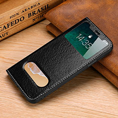 Leather Case Stands Flip Cover P02 Holder for Apple iPhone X Black