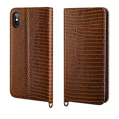 Leather Case Stands Flip Cover P03 Holder for Apple iPhone X Brown
