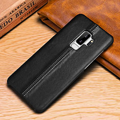 Leather Case Stands Flip Cover P03 Holder for Samsung Galaxy S9 Plus Black